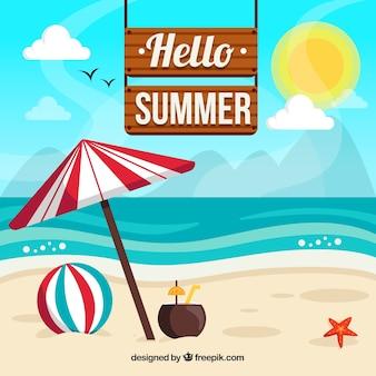Bonjour fond d'été avec plage