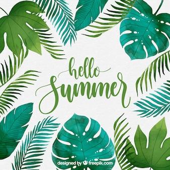 Bonjour fond d'été avec des plantes dans un style aquarelle