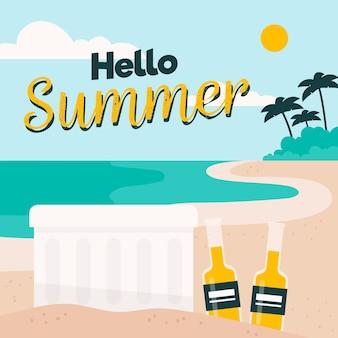 Bonjour fond d'été plat