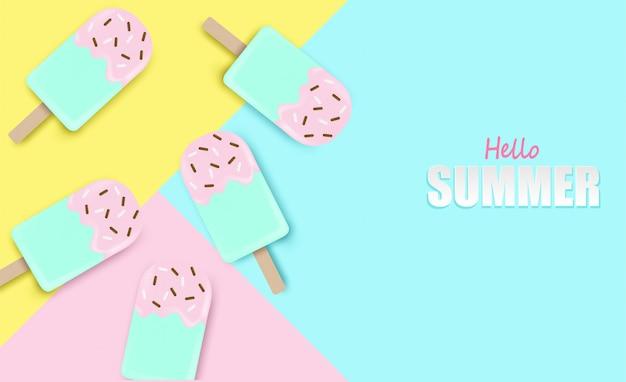 Bonjour fond d'été. top découvre la crème glacée sur fond pastel coloré.