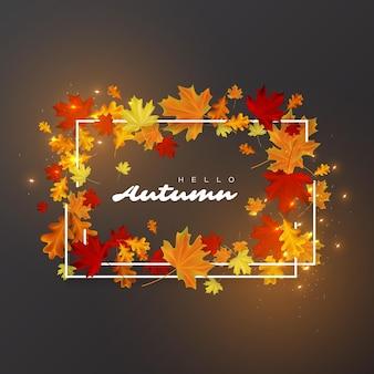 Bonjour fond de feuilles d'automne.