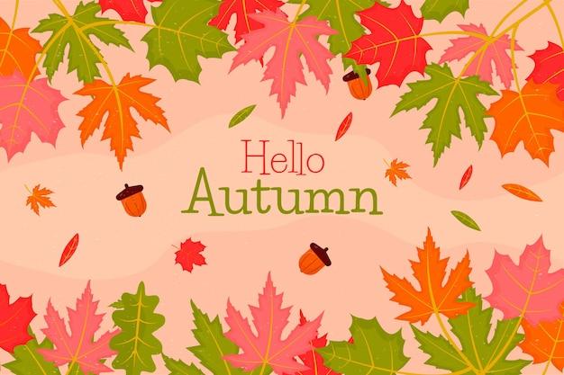 Bonjour fond de feuilles d'automne