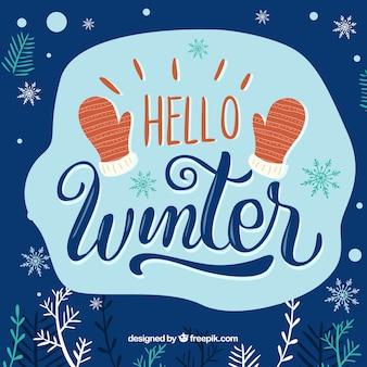 Bonjour fond d'hiver avec des mitaines rouges