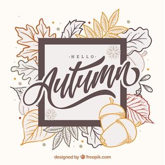 Bonjour fond de lettrage d'automne avec des feuilles
