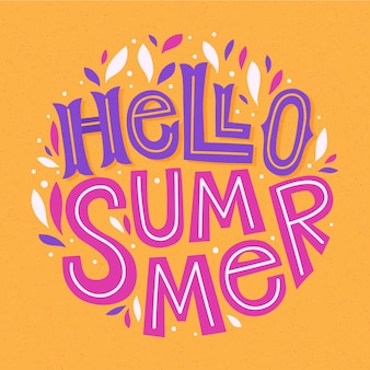 Bonjour fond de lettrage d'été