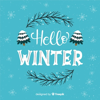 Bonjour fond de lettrage d'hiver