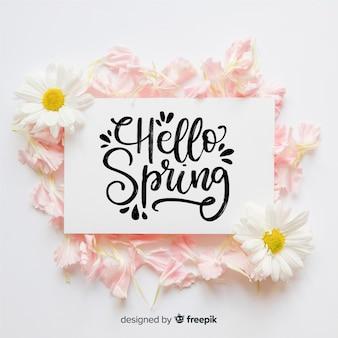 Bonjour fond de lettrage de printemps