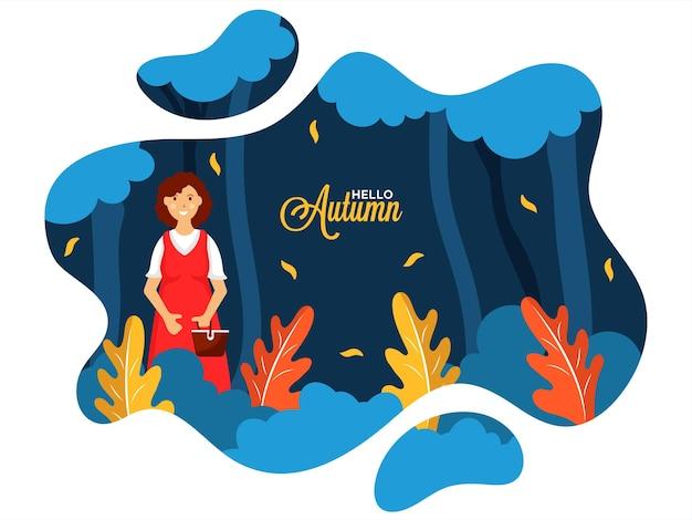 Bonjour fond minimal d'automne avec des femmes tenant un panier