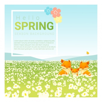 Bonjour fond de paysage de printemps avec la famille de renard
