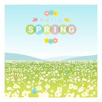 Bonjour fond de paysage de printemps