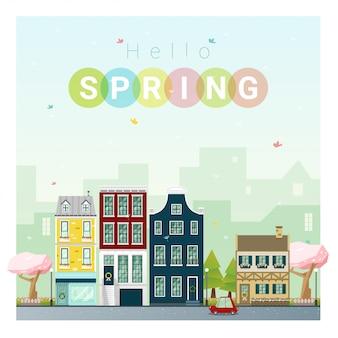 Bonjour fond de paysage urbain printemps