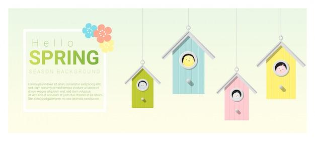 Bonjour fond de printemps avec des petits oiseaux dans des nichoirs