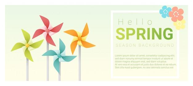 Bonjour fond de printemps avec des roues colorées