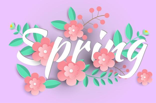 Bonjour fond de vente de printemps avec de belles fleurs en papier.