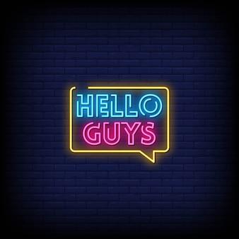 Bonjour les gars texte de style enseignes au néon