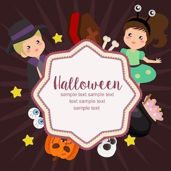 Bonjour halloween carte alien costume enfants plat style