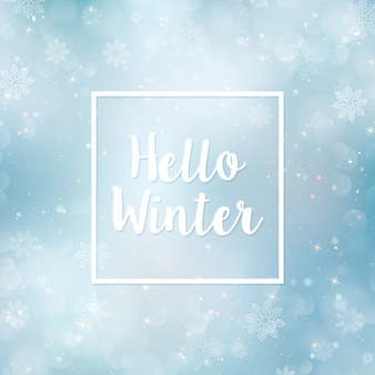 Bonjour hiver fond flou. flocons de neige de noël arrière-plan flou