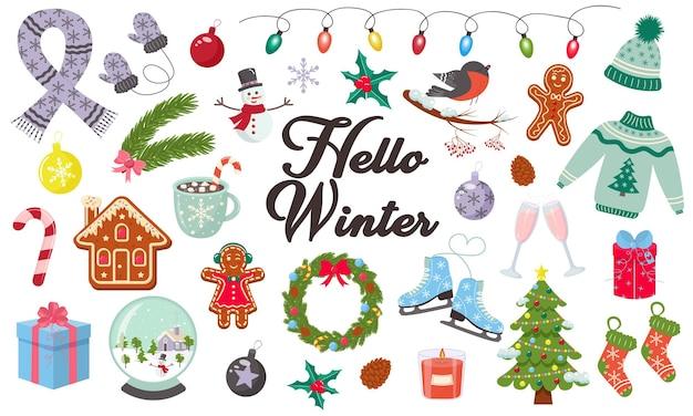Bonjour hiver et joyeux noël ensemble d'éléments