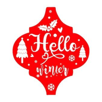 Bonjour hiver lettrage premium vector design