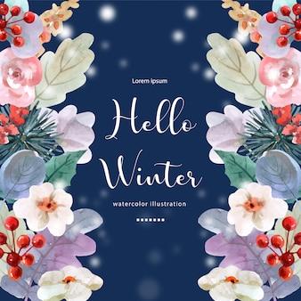 Bonjour illustration aquarelle d'hiver