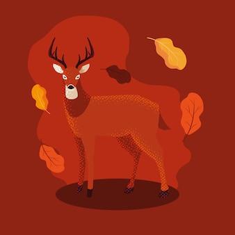 Bonjour illustration d'automne avec animal de cerf et feuilles