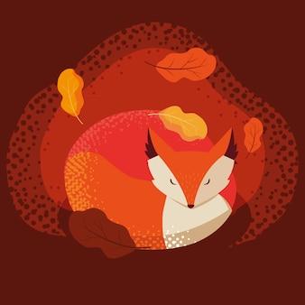 Bonjour illustration d'automne avec animal renard