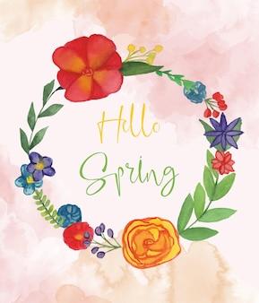 Bonjour illustration de carte de voeux de printemps avec des fleurs à l'aquarelle