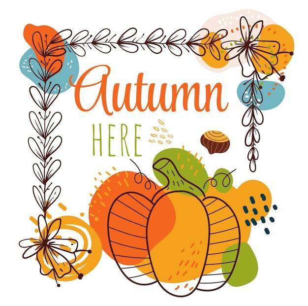 Bonjour illustration d'élément de conception de bannière de cadre d'automne