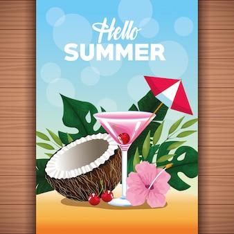 Bonjour illustration de l'été avec des éléments de dessin animé