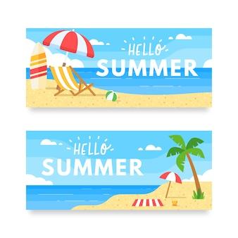 Bonjour illustration d'été de la plage et de la mer