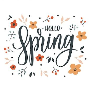 Bonjour inscription lettrage de printemps avec des fleurs. carte d'amour.