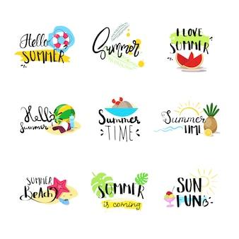 Bonjour insigne d'été mis en étiquette de conception typographique isolée, lettrage de vacances de saison pour logo, modèles, invitation, carte de voeux, impressions et affiches.