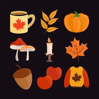 Bonjour jeu d'icônes d'automne