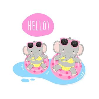 Bonjour, les jolis éléphants d'été étaient des dessins de bikini et de bague de bain.