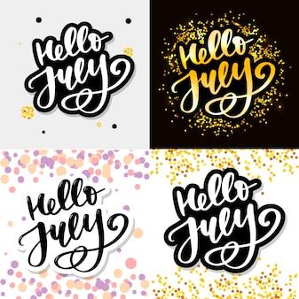 Bonjour juillet lettrage imprimer