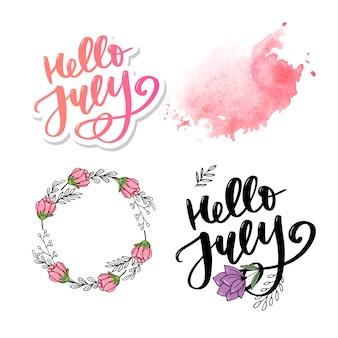 Bonjour juillet lettrage sey