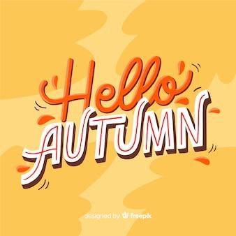 Bonjour lettrage d'automne avec des feuilles