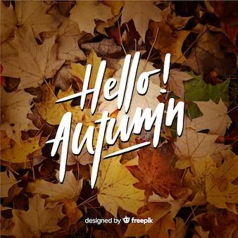 Bonjour lettrage d'automne avec photo