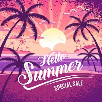 Bonjour lettrage de bannière de vente spéciale d'été avec illustration