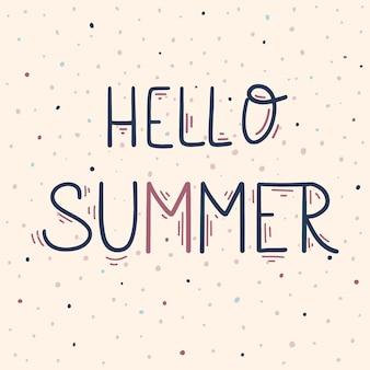 Bonjour lettrage dessiné à la main d'été, illustration vectorielle