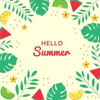 Bonjour lettrage d'été sur le cadre de dessins de fruits et de feuilles sur l'illustration de fond jaune clair