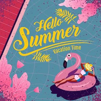 Bonjour lettrage de l'été avec illustration. temps de vacances