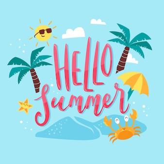 Bonjour lettrage d'été avec des paumes