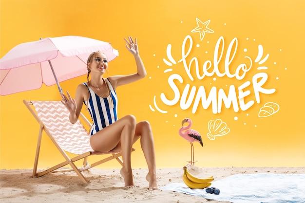 Bonjour lettrage d'été avec photo