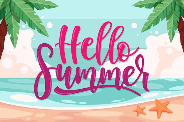 Bonjour lettrage d'été avec plage et palmiers