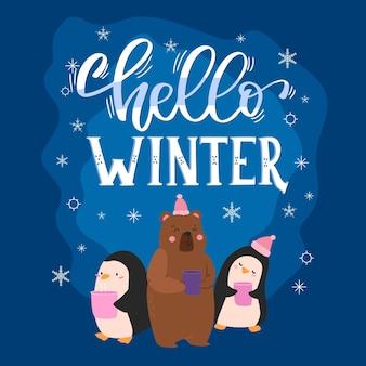 Bonjour lettrage d'hiver avec des animaux mignons