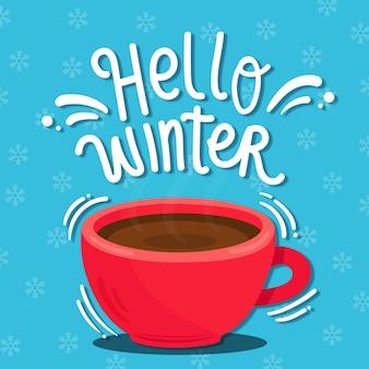 Bonjour lettrage d'hiver sur fond bleu avec des flocons de neige