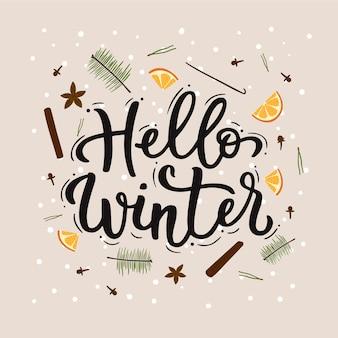 Bonjour lettrage d'hiver avec orange
