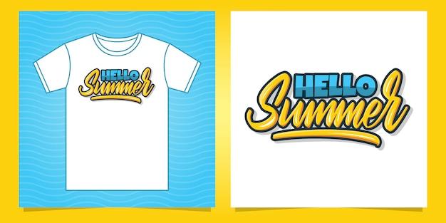 Bonjour lettrage à la main d'été pour la conception de t-shirt