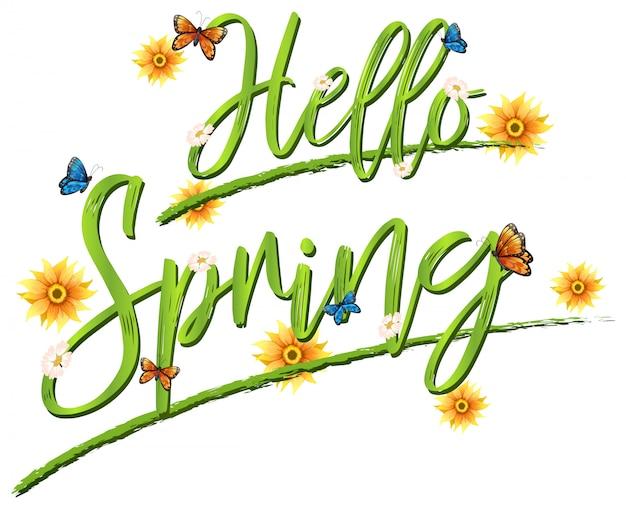 Bonjour lettrage de polices de printemps
